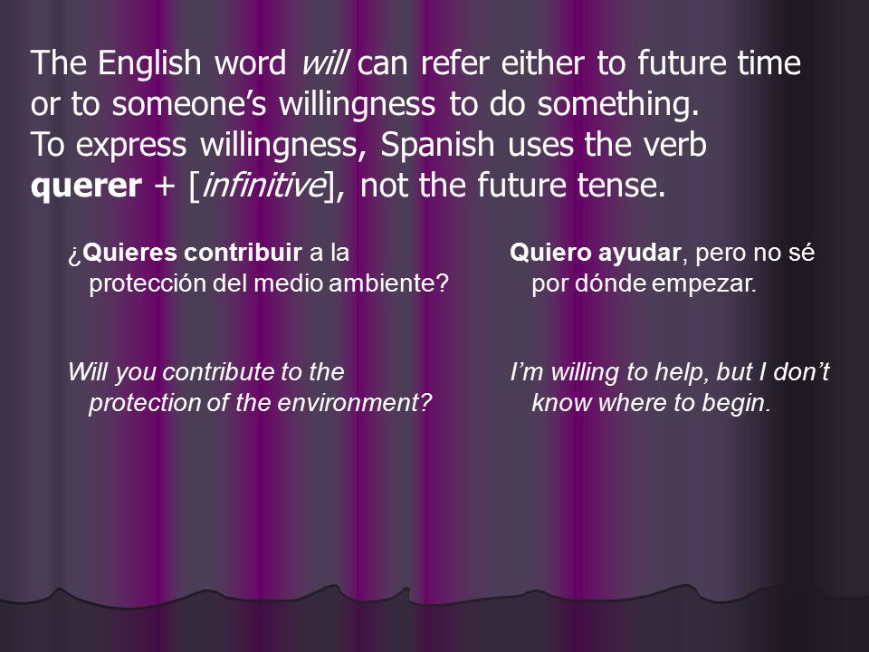 The English word will can refer either to future time or to someone's willingness to do something. To express willingness, Spanish uses the verb querer + [infinitive], not the future tense.